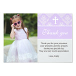 Baptism Thank You Note Custom Photo Card Lavender 13 Cm X 18 Cm Invitation Card