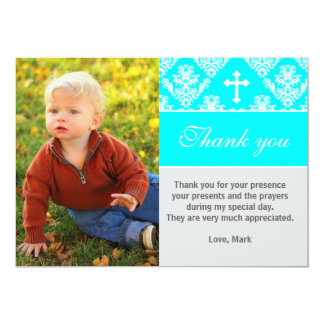Baptism Thank You Note Custom Photo Card Turquoise 13 Cm X 18 Cm Invitation Card