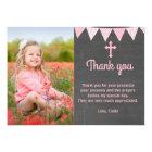 Baptism Thank You Photo Card Pink Chalkboard
