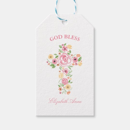 Baptism Watercolor Pink and Yellow Flower Cross Gift