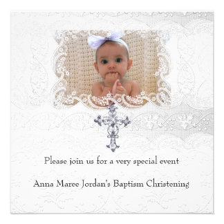 Baptism White Lace Photo Jewel Cross Custom Announcements