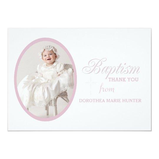 Baptism Word Pink Photo Thank You Notecard