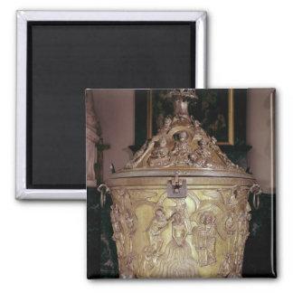 Baptismal font showing square magnet