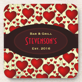 Bar and Grill on Red Hearts and Burgundy Nameplate Drink Coasters