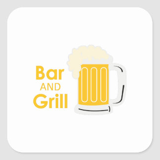 BAR AND GRILL SQUARE STICKER