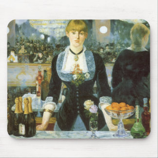 Bar at the Folies Bergere by Manet, Vintage Art Mouse Mat