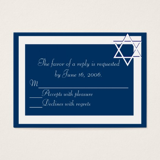 Bar/Bat Mitzvah Invitations Response Card