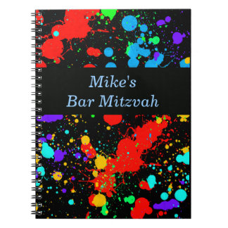 Bar, Bat Mitzvah Neon Paint Splatter Guest Book