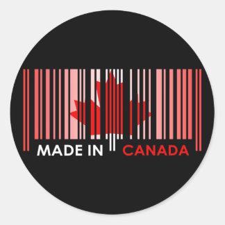 Bar Code Flag Color CANADA Dark Design Classic Round Sticker