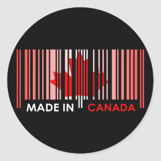 Bar Code Flag Color CANADA Dark Design Round Sticker