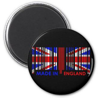 Bar Code Flag Colors ENGLAND Dark Design 6 Cm Round Magnet