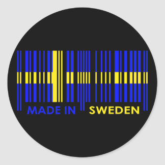 Bar Code Flag Colors SWEDEN Design Round Sticker