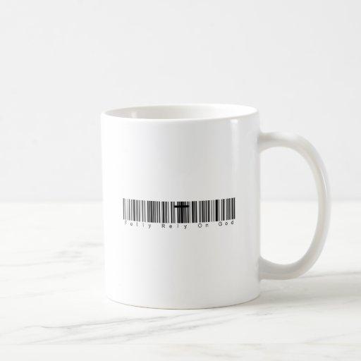 Bar Code Fully Rely On God Mugs
