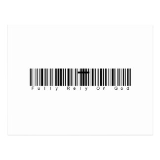 Bar Code Fully Rely On God Postcard
