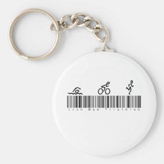 Bar Code Iron Man Tri Basic Round Button Key Ring