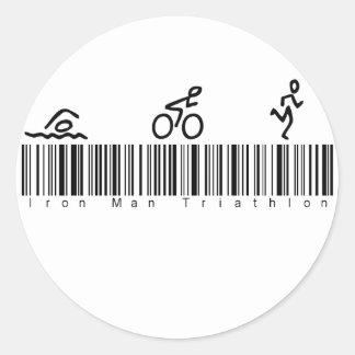 Bar Code Iron Man Tri Classic Round Sticker