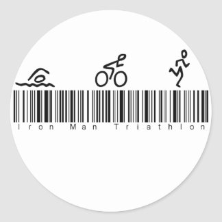 Bar Code Iron Man Tri Round Sticker