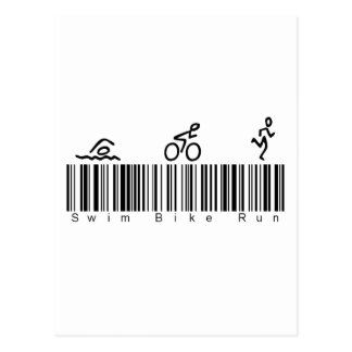 Bar Code Swim Bike Run Postcard