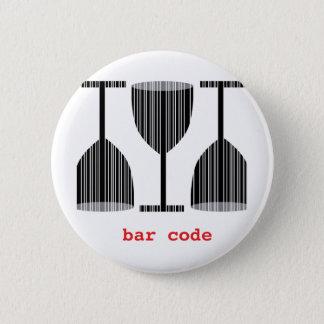 Bar Code Wine Glass 6 Cm Round Badge