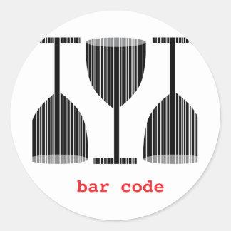 Bar Code Wine Glass Round Sticker