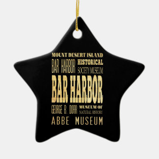 Bar Harbor City of Maine Typography Art Christmas Ornament