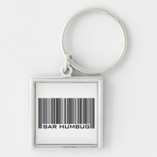 Bar Humbug - Christmas Gift Silver-Colored Square Key Ring