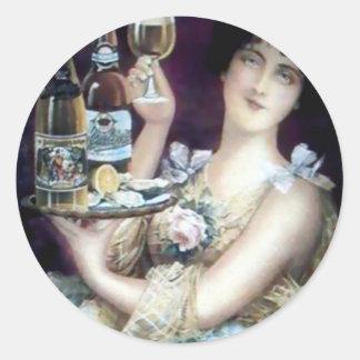 Bar Maid Vintage Poster Round Sticker