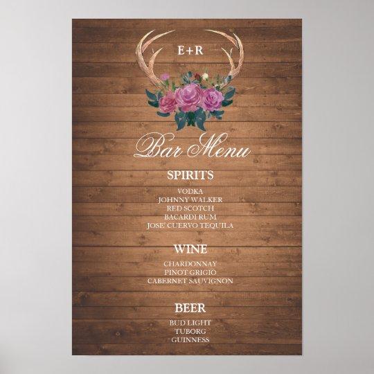 BAR MENU  big sign   Deer antler   wedding bar