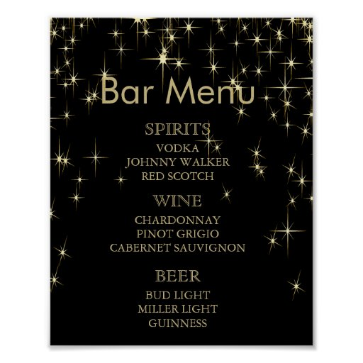 Bar Menu - Gold & Black Starlights Wedding