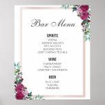 BAR MENU sign | burgundy floral | wedding bar