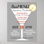 Bar menu sign editable color cocktail glass