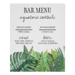 Bar Menu Sign - Greenery Wedding