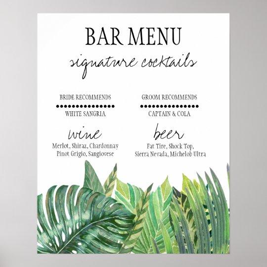 Bar Menu Sign - Greenery Wedding
