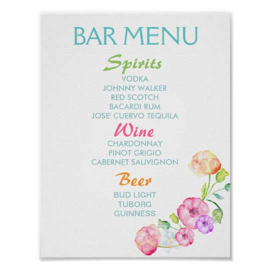 Bar menu sign - wedding party watercolor flowers