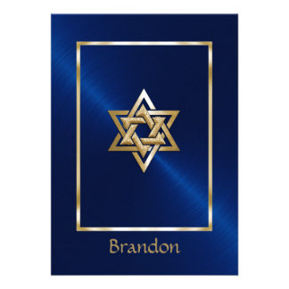 Bar Mitzvah 16 Colors Star of David Invitation