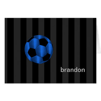 Bar Mitzvah Any Color Stripe Blue Soccer Ball Stationery Note Card