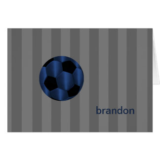 Bar Mitzvah Any Color Stripe Navy Soccer Ball Stationery Note Card