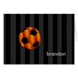Bar Mitzvah Any Color Stripe Orange Soccer Ball Stationery Note Card