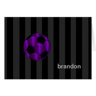 Bar Mitzvah Any Color Stripe Purple Soccer Ball Stationery Note Card