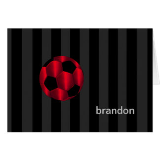 Bar Mitzvah Any Color Stripe Red Soccer Ball Stationery Note Card