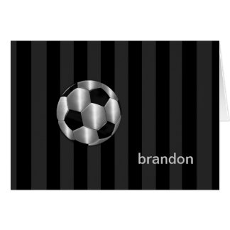 Bar Mitzvah Any Color Stripe Silver Soccer Ball Stationery Note Card