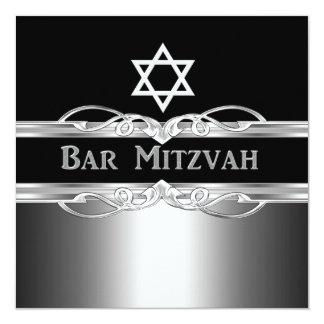 Bar Mitzvah Black Silver Metal Boy 2 13 Cm X 13 Cm Square Invitation Card