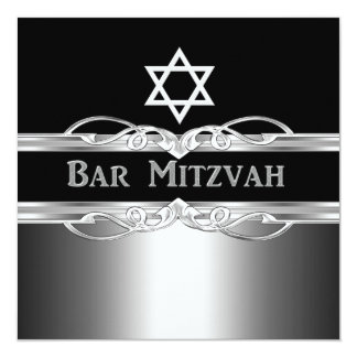 Bar Mitzvah Black Silver Metal Boy 2 Card