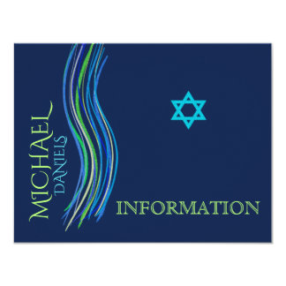Bar Mitzvah Blue and Green Information Card
