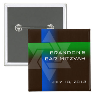 Bar Mitzvah Blue and Green on Any Color 15 Cm Square Badge