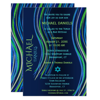 Bar Mitzvah Blue and Green Prayer Shawl Card