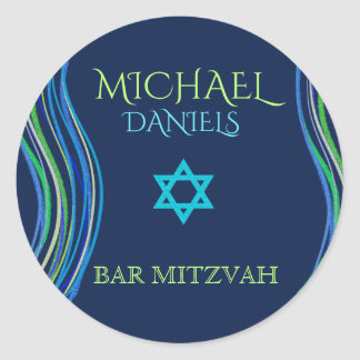 Bar Mitzvah Blue and Green Prayer Shawl Classic Round Sticker