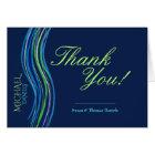 Bar Mitzvah Blue and Green Prayer Shawl Thank You Card