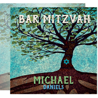 Bar Mitzvah Blue and Green Tree of Life Card