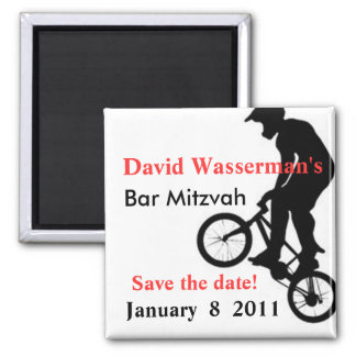 Bar Mitzvah BMX Save the Date Square Magnet
